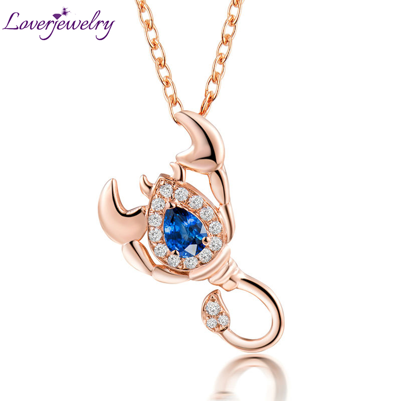 NEW!Scorpio Pendant Solid 18Kt Rose Gold,Natural Diamond Scorpio Sapphire Pendant 750 Rose Gold WP086B