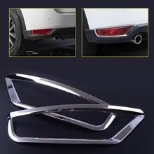 beler 2pcs Silver Car Fog Light Rear Tail font b Lamp b font Cover Trim Molding
