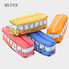 DELVTCH creative multi-function bus large-capacity canvas pencil case box school student gift