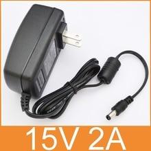 50ピース高品質15v2a交流100ボルトの240ボルトコンバータアダプタdc 15ボルト2a 2000ma電源米国プラグ5.5ミリメートルx 2.1〜2.5ミリメートル