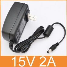 50PCS high quality 15V2A AC 100V 240V Converter Adapter DC 15V 2A 2000mA Power Supply US Plug 5.5mm x 2.1 2.5mm