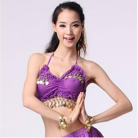 New Arrival Chiffon  Belly Dance Top Momen Sleeveless Gold Coins  Belly Dance Tops Sexy Top 11colors