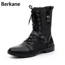 Ботинки в байкерском стиле; кожаные мужские ботинки; коллекция года; зимняя обувь с боковой молнией; Мужские ботинки в стиле панк; Цвет Черный; брендовая модная обувь на шнуровке с пряжкой; мужские ботинки; botas hombre
