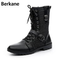 Motorcycle Boots Leather Men 2019 Winter Side Zip In Tube Male Punk Black Brand Lace Up Fashion Buckle Shoes Men Botas Hombre