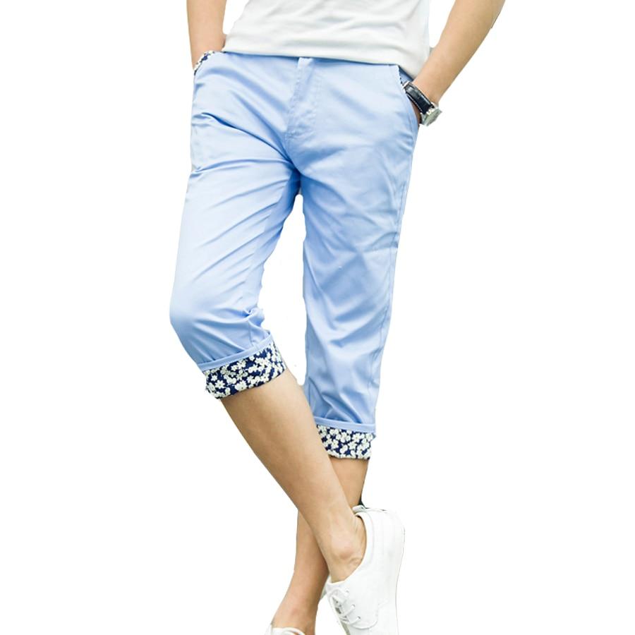 Nuevos Hombres De La Cintura Medio Pantalones De Media Pierna Verano Hombres Camiseta Slim Fit Stright Color Solido Pantalones Casuales De La Moda Pantalones De Alta Calidad Nueva Calf Length Pants Pants Casualfashion Pants