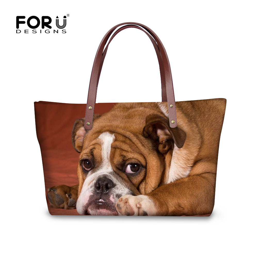 FORUDESIGNS Cute England Bulldog Women Big Handbags For Ladies Messenger Bags Woman Casual Shoulder Tote Cross-body Bags Blosas new woman shoulder bags cute canvas women big bags literature and art cartoon girls small fresh bags casual tote