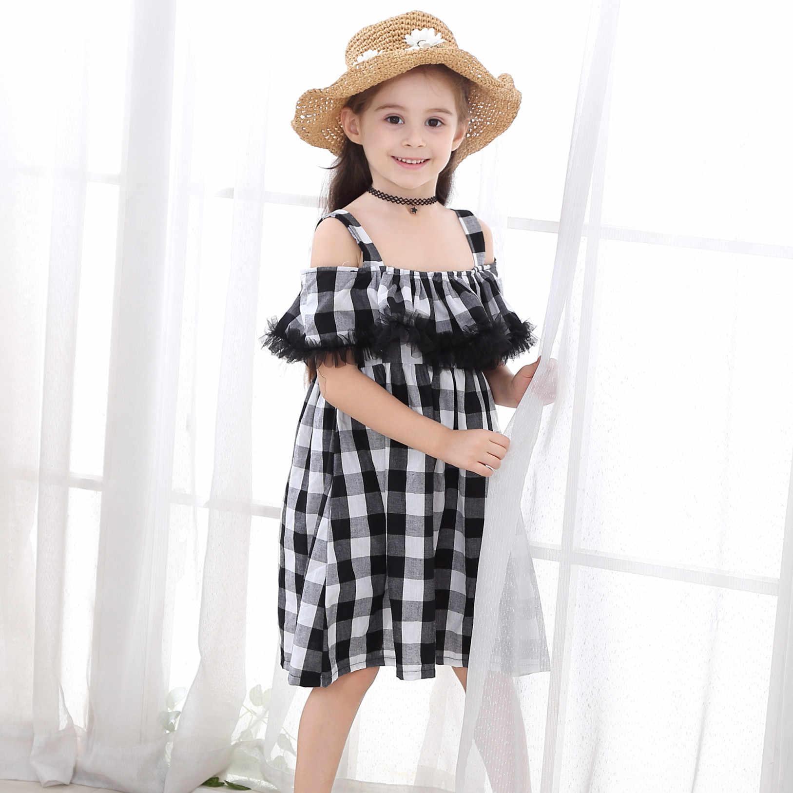 Милое Повседневное платье для девочек Лето 2019 г. Детские свободные клетчатые платья принцессы с открытыми плечами детские пляжные платья на бретельках