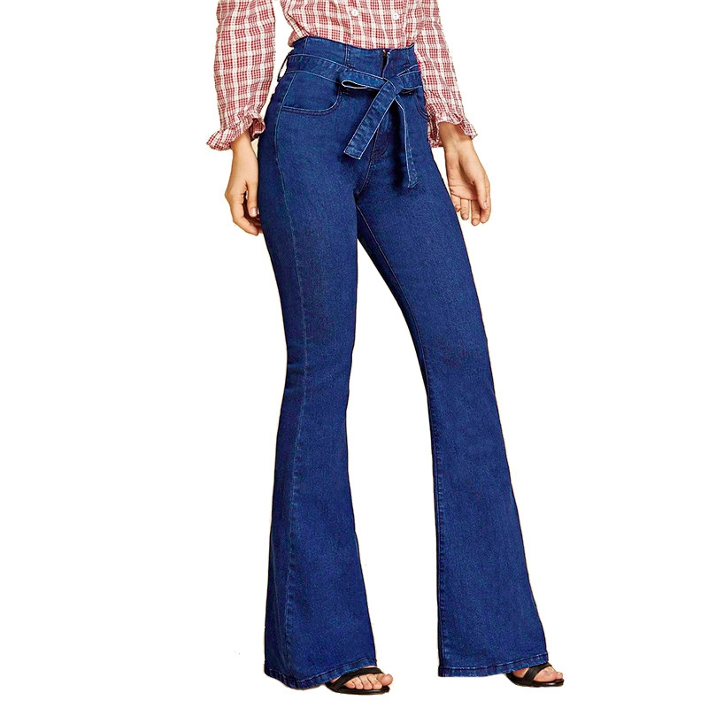 Tie Waist Flare Hem Jeans Women Denim Trousers Vintage Ladies Clothes Fall High Waist Pants Belted Stretchy Jeans Wide Leg Jeans