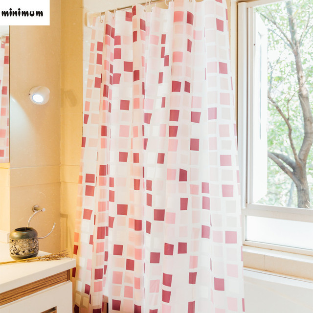 Wonderful Bathroom Plaid Shower Curtain PEVA Thick Plastic Waterproof Bath Curtains  Curtain Door Window Hanging Curtains Free
