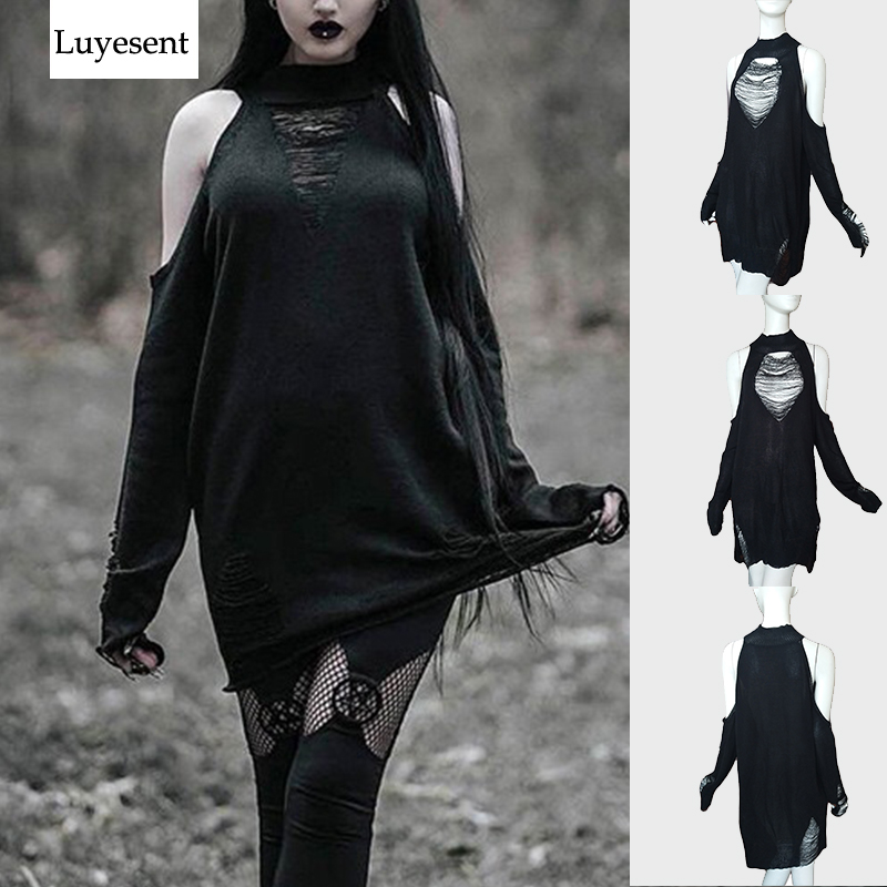Gothic Cool Hollow Out Long Women Sweaters Black Off Shoulder Lady Punk Jumpers Broken Slit Hole Knit Sexy O-Neck Sweater 2020