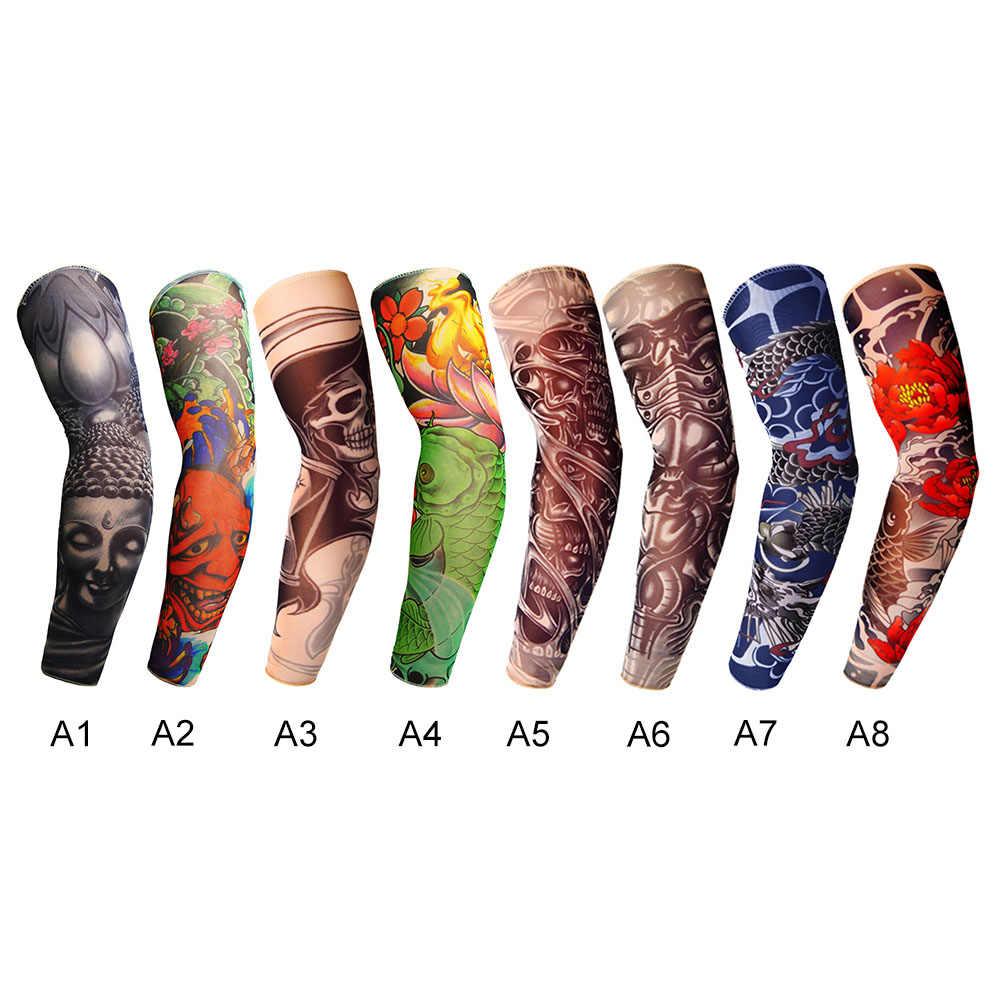 Outdoor Ademende Fietsen Arm Mouwen 3D Tattoo Gedrukt Uv Bescherming Sneldrogend Mouwen Ridding Arm Fitness Sport Mouwen
