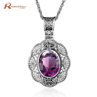 925 Sterling Silver Pendants Vintage Handmade Charm Jewelry Women Evening Party Created Precious Stone Sapphire Ruby CZ Pendant