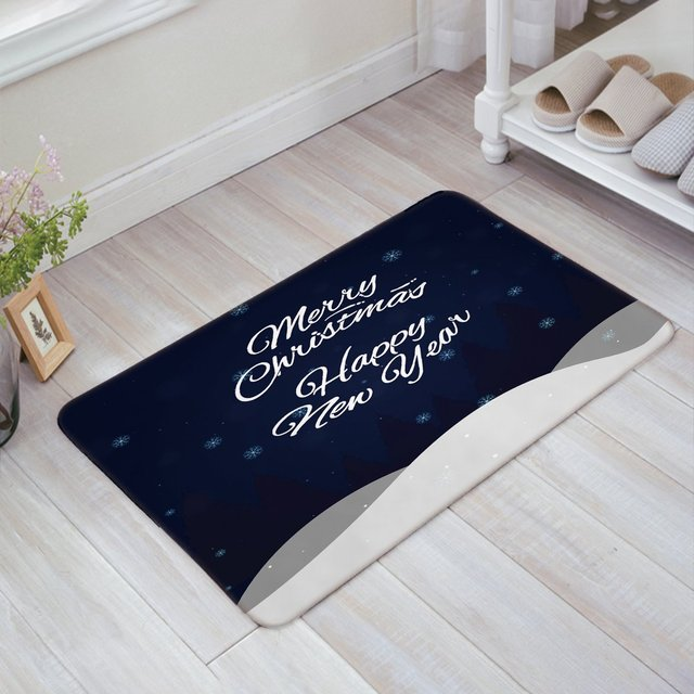 Merry Christmas and Happy New Year Navy Doormat Welcome Mat ...
