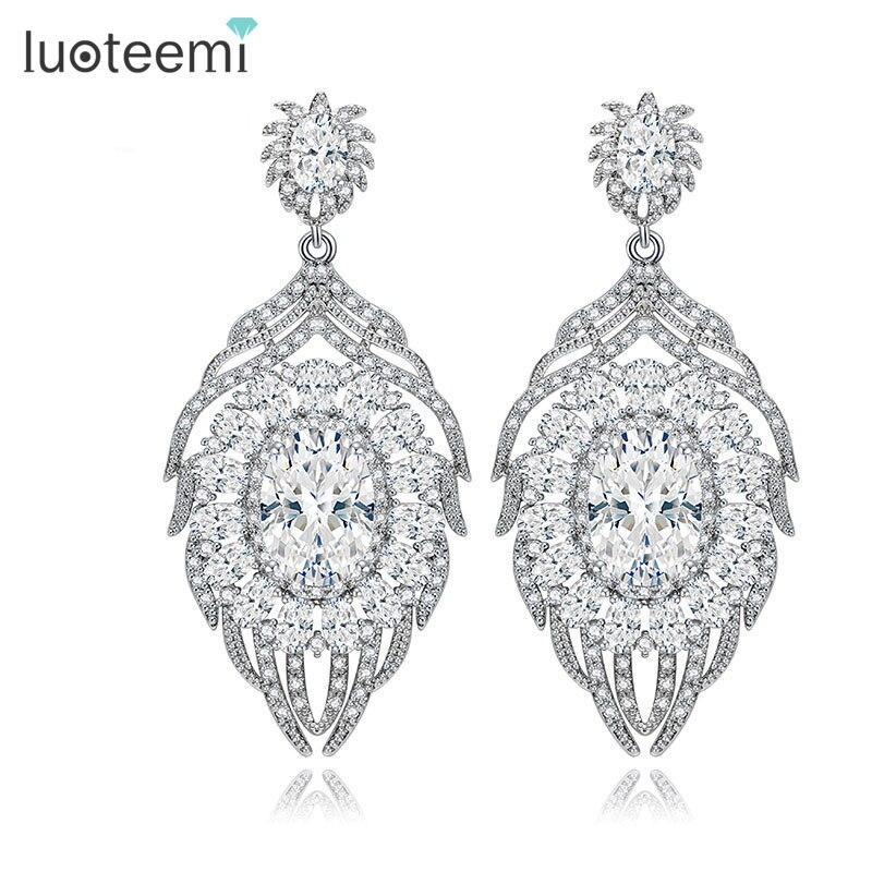 LUOTEEMI Luxury CZ Vintage Embellished Bridal Clear Cubic Zircon Feather Design Heavy Stud Earring For Women's Wedding Jewelry