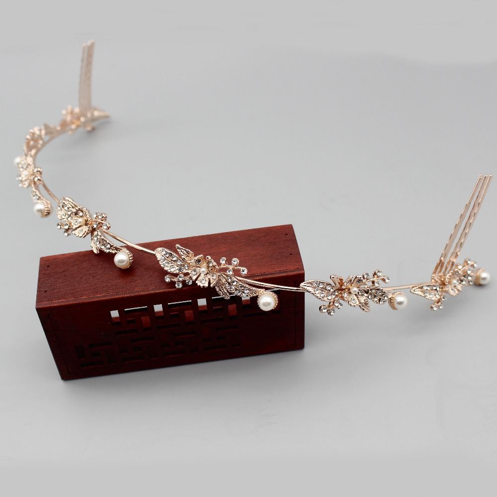 Rose Gold/Silver Crystal Bridal Vine Tiara Hair Ornaments For Girl/Women Prom Crown Headband Wedding Hair Jewelry Accessories
