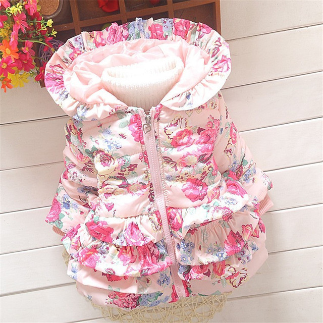 eb7f8fff3a5 US $11.79 41% OFF BibiCola baby girls snowsuit winter toddler fleece velvet  coats down parkas infant outerwear bebe floral hoodies thick jackets-in ...
