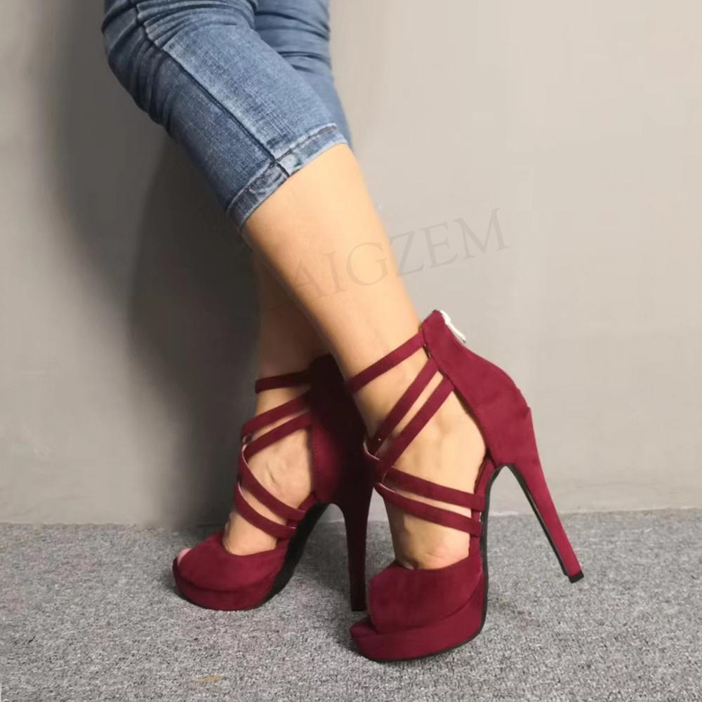 Womens Stiletto High Heels Plaform Faux Suede Strappy Sandals Ladies Shoes Size