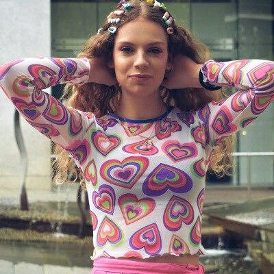 Women Sexy Mesh Sheer Slim Print Transparent Top Shirt Casual 2019 Spring Autumn Womens Long Sleeve Women Modis Sexy Mesh Tops in T Shirts from Women 39 s Clothing