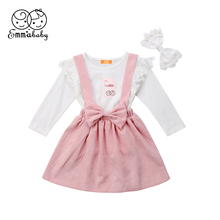 Cute Kids Baby Girl Ruffles Shirt Tops +Suspender Dresses+Headband 3pcs Set Outfits