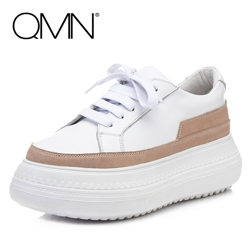 QMN women suede-paneled leather platform brogue shoes Women Round Toe Lace Up Casual Shoes Woman Real Leather Flats qmn women brushed leather platform brogue shoes women round toe lace up oxfords flat casual shoes woman genuine leather flats