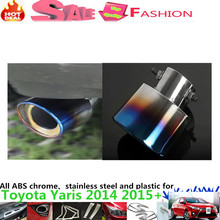 Free shipping car cover muffler exterior end pipe dedicate stainless steel exhaust tip tail 1pcs T0Y0TA Yaris L 2014 2015