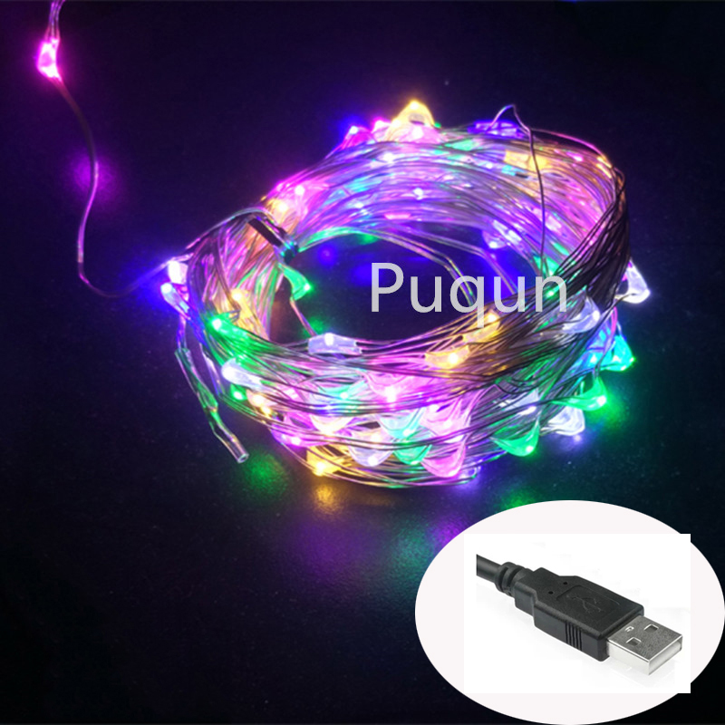 10M 33ft 100 led 5V USB powered outdoor led silver wire string lights christmas festival wedding party decoration