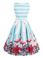Hot Sale Women Pin Up Vintage Dress Floral Print Rockabilly Bow Belt Dresses Blue White Stripe