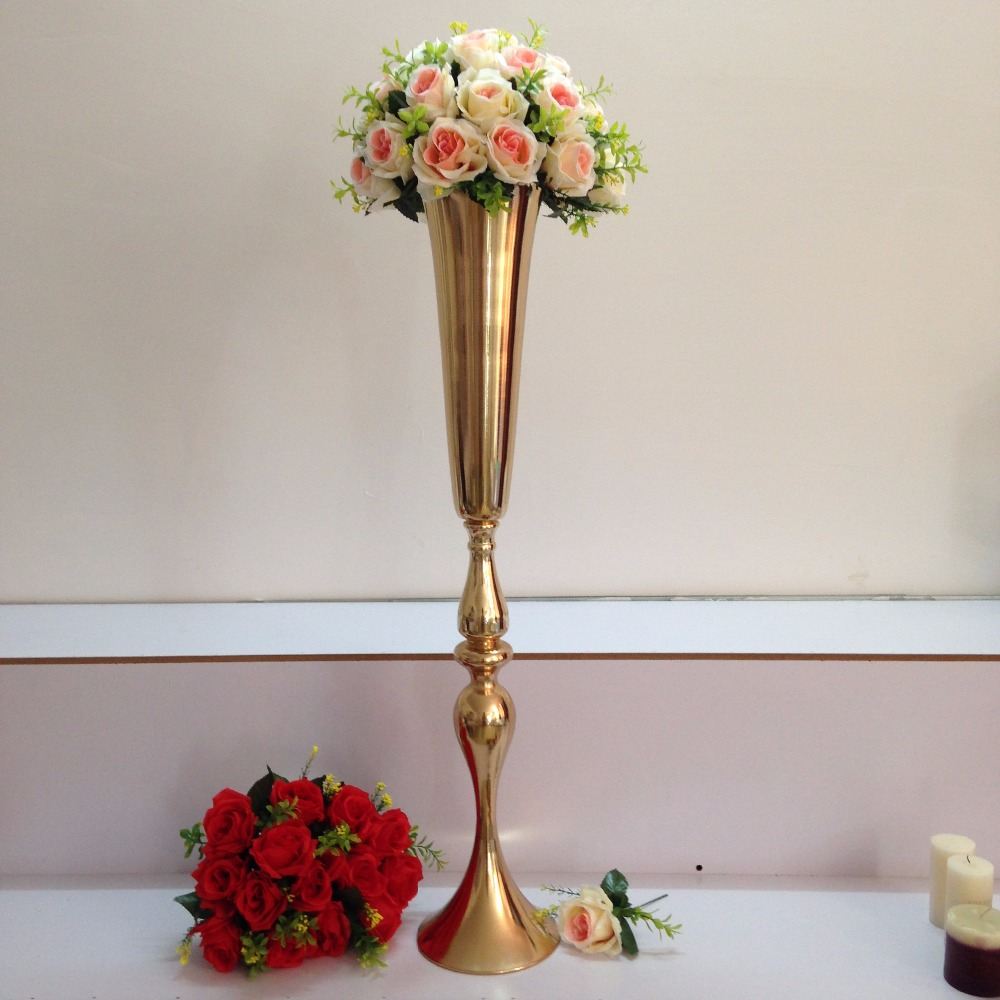 Free Shipping Wholesale Wedding Supplies Gold Silver Trumpet Wedding Decoration Table