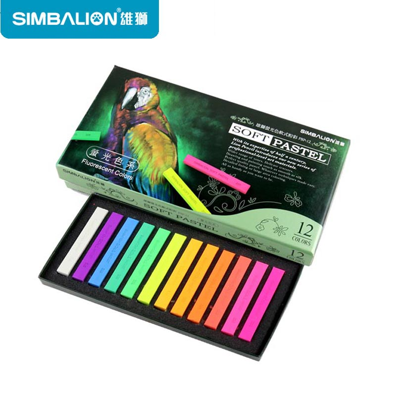 Simbalion Oil Pastel Stick 12 Colors Soft Oil Pastel Powder Pastel Stick Fluorescent Color Sketch/Life&Nature/Sketch Tones la pastel silver