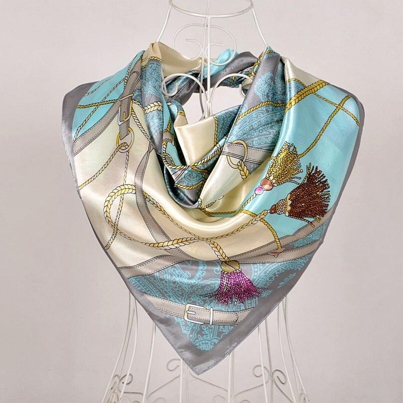 Дизайн женский Шелковый большой квадратный шелковый шарф из полиэстера, 90*90 см горячая Распродажа атласный шарф с принтом для весны, лета, осени, зимы - Цвет: grey 563