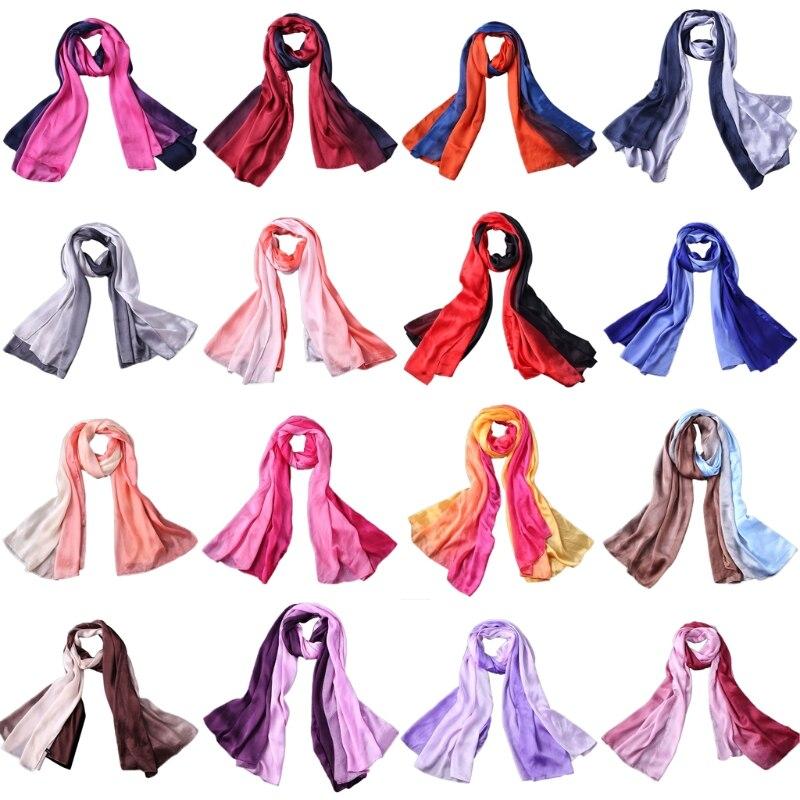 Women Faux Silk Long   Scarf     Wrap   Gradient Color Luxury Muslim Hijab Shawl Fashion