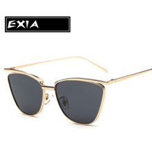 New Sunglass for Women Cat Eye Design Grey Lenses with Gold Color of Frame EXIA OPTICAL KD-0741 Series
