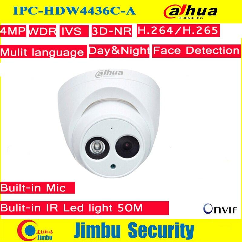 Dahua IP Camera 4MP IPC HDW4436C A IR50M H 265 H 264 Full HD Built in