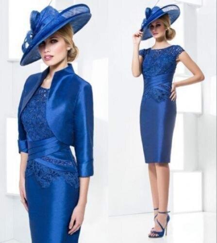 vestido de madrinha 2016 mother of the bride lace dresses with jacklet royal blue taffeta wedding party dress