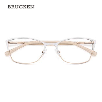 מתכת משקפיים מסגרת נשים משקפיים אופטיים לבן צבע עין חתול משקפיים מסגרת נשים # TWM7554C4