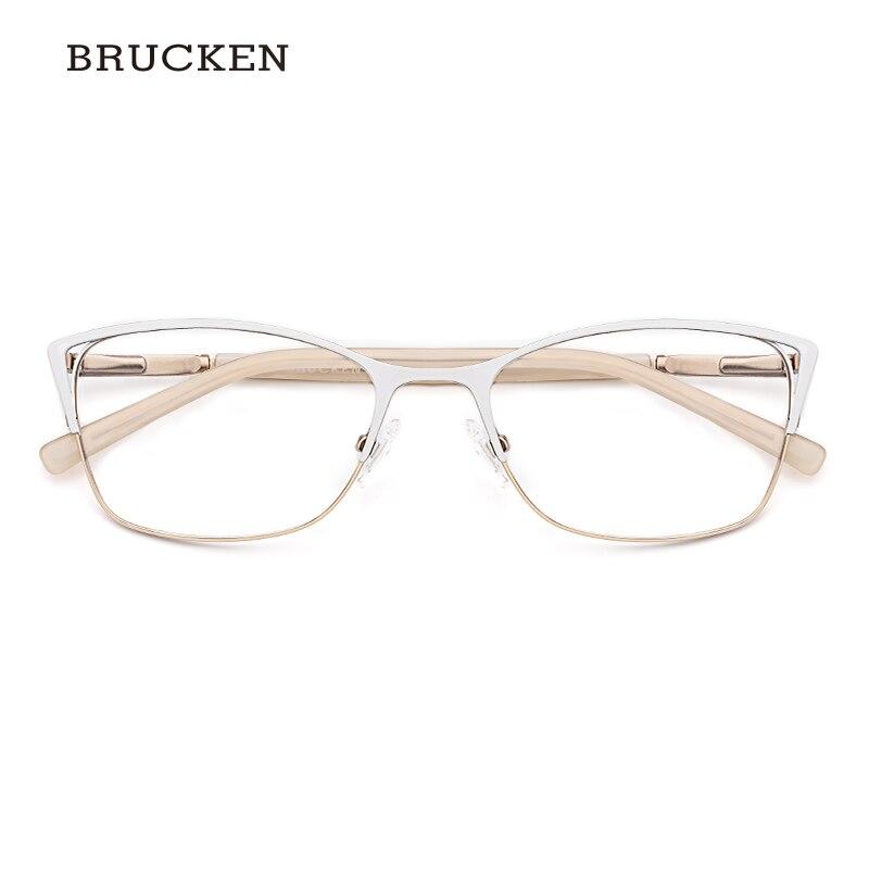 Metal Eyeglasses Frame Women Optical Glasses White Color Cat Eye Eyeglasses Frame Women #TWM7554C4