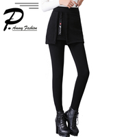 2018 Fashion Winter women clothing new large size plus velvet fake two piece skirt pants solid color warm leggings