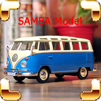 New Year Gift Samba 1/25 Model Metallic Bus Cars Collection Retro Edition Vehicle Alloy Static Decoration Toys Car Metal Diecast