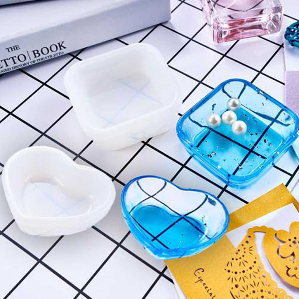 2 個シリコーン樹脂モールド小箱容器シリコーン金型樹脂アート型 DIY 収納ボックスジュエリーメイキング装飾クラフト金型