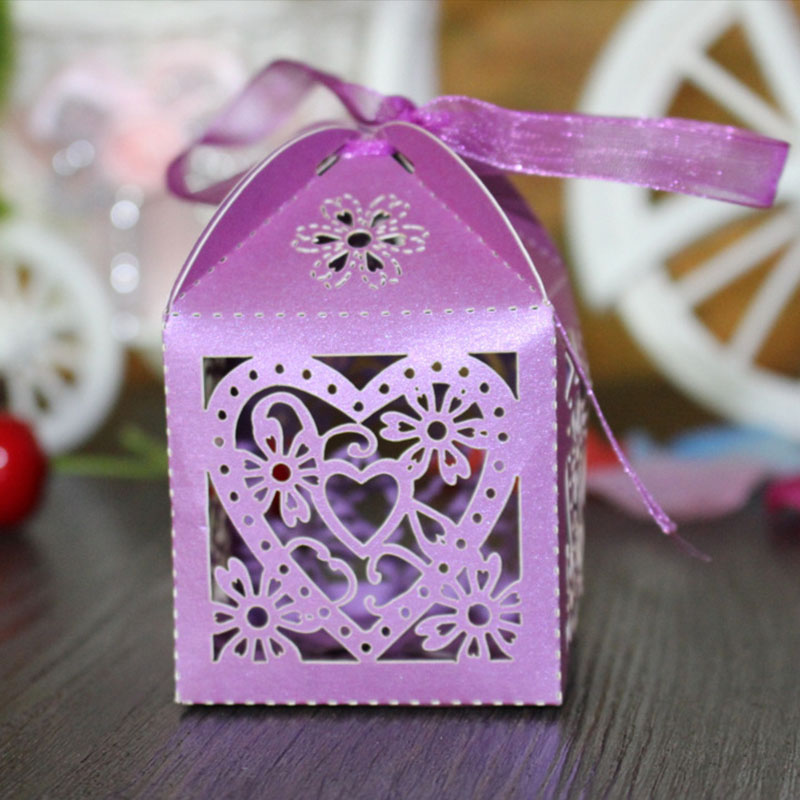 10pcs Love Heart Laser Cut Candy Chocolate Gift Box Wedding Paper Gifts Bags DIY Party Supplies Valentines Day Decoration