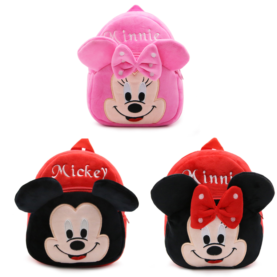 1-3 Years Baby Plush Backpack Cute Cartoon Rose Red Minni & Mickey the Mouse Plush Bag Soft Toy Children's School Bag 1 3 years baby plush backpack cute cartoon pink rose wine red hello kitty cat plush bag soft toy children s school bag
