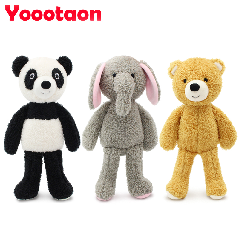 YOOOTAON kawaii animal stuffed dolls plush kids toys for children girls/boys brinquedos plush baby toy teddy bear/Elephant/panda stuffed dog plush toys black dog sorrow looking pug puppy bulldog baby toy animal peluche for girls friends children 18 22cm
