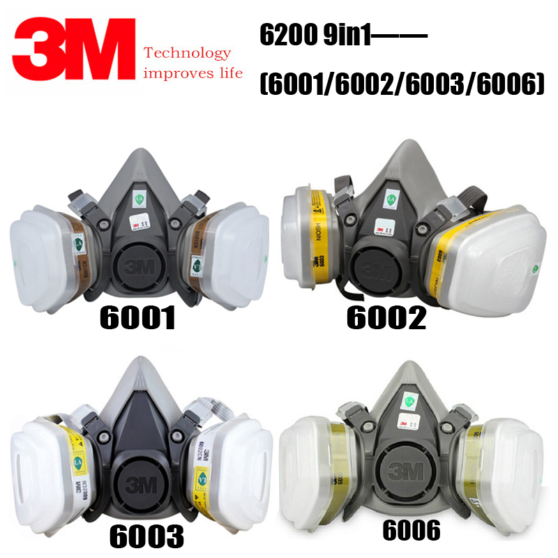 <font><b>3M</b></font> 6200+6001/6002/6003/<font><b>6006</b></font> Half Facepiece Reusable Respirator Gas Mask Protect Against Painting Spraying Acid image