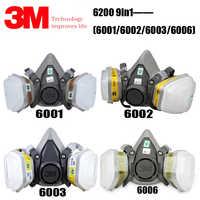 3M 6200+6001/6002/6003/6006 Half Facepiece Reusable Respirator Gas Mask Protect Against Painting Spraying Acid