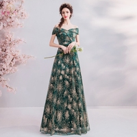 Walk Beside You Long Dresses Evening Formal Dress Women Elegant Bling Green Gold Sequined Prom Gown Off Shoulder Sweetheart 2019