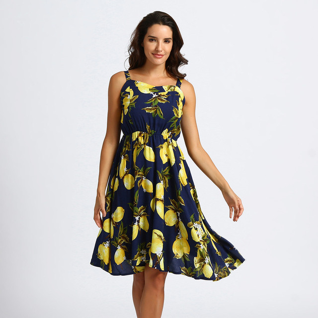 56995e63deb39 Sexy Lemon print dress Summer Women V-neck Dresses Fashion Party Beach  strap navy Dress Casual Woman s clothes Vestidos 2018