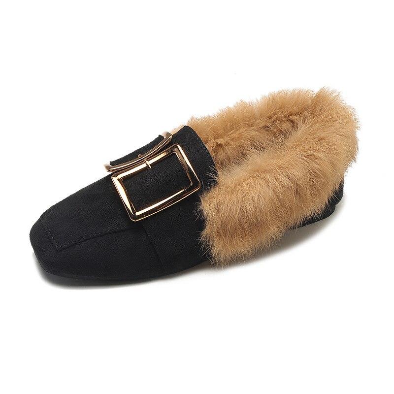 Automne Chaussures Noir Et Rétro Fourrure Chaussures Chaud En Carrée Velours Métal Hiver Femmes Tête Le De Plus kaki Lapin Coton Boucle Plat Casual 1zRg81w