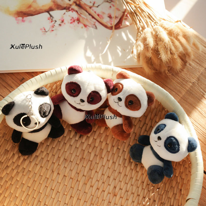 soft Super Hot NEW  Lover Panda 10CM Plush Stuffed Toys 4Colors key chain ring Pendant Wedding Gift Toy