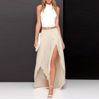 Summer Style Sexy Chiffon Skirt Zipper Waistline A Line Floor Length Full Maxi Skirt Slit Thin