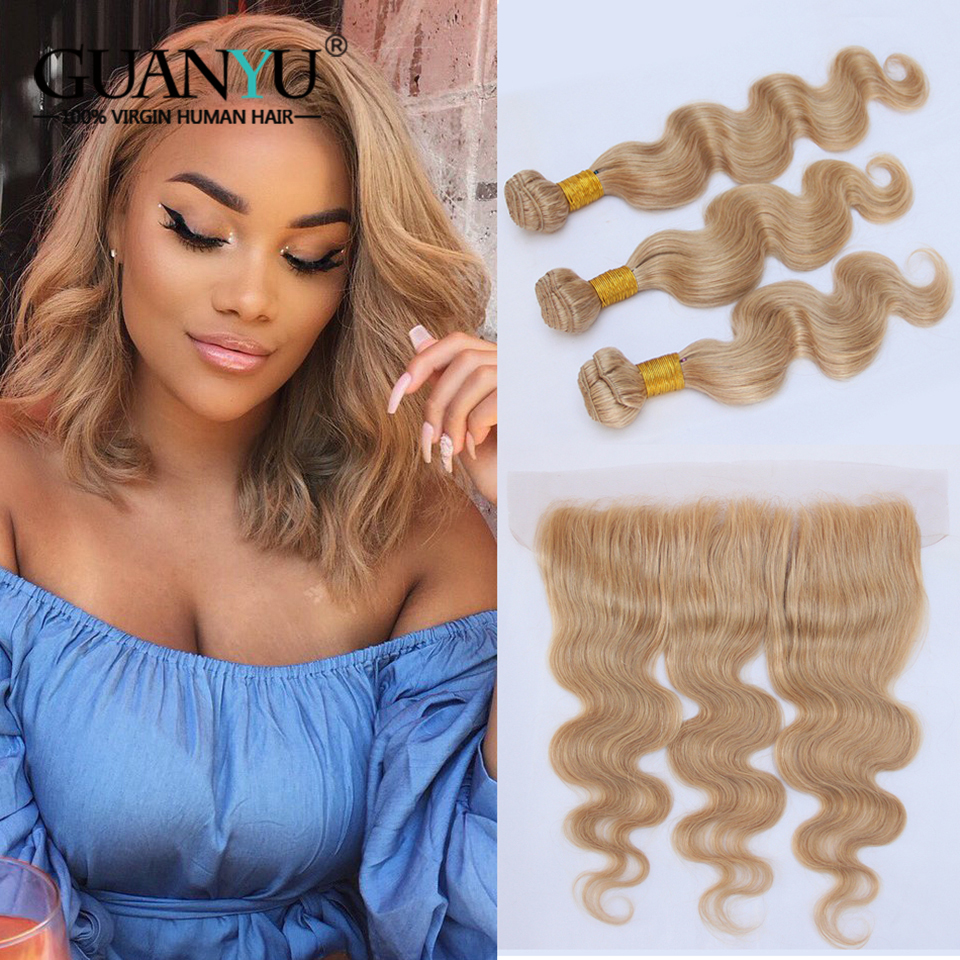 Guanyuhair #27 Honey Blonde Bundles Brazilian Body Wave 100% Remy Human Hair Weave 3 Bundles With Frontal Closure 13x4 With Traditional Methods